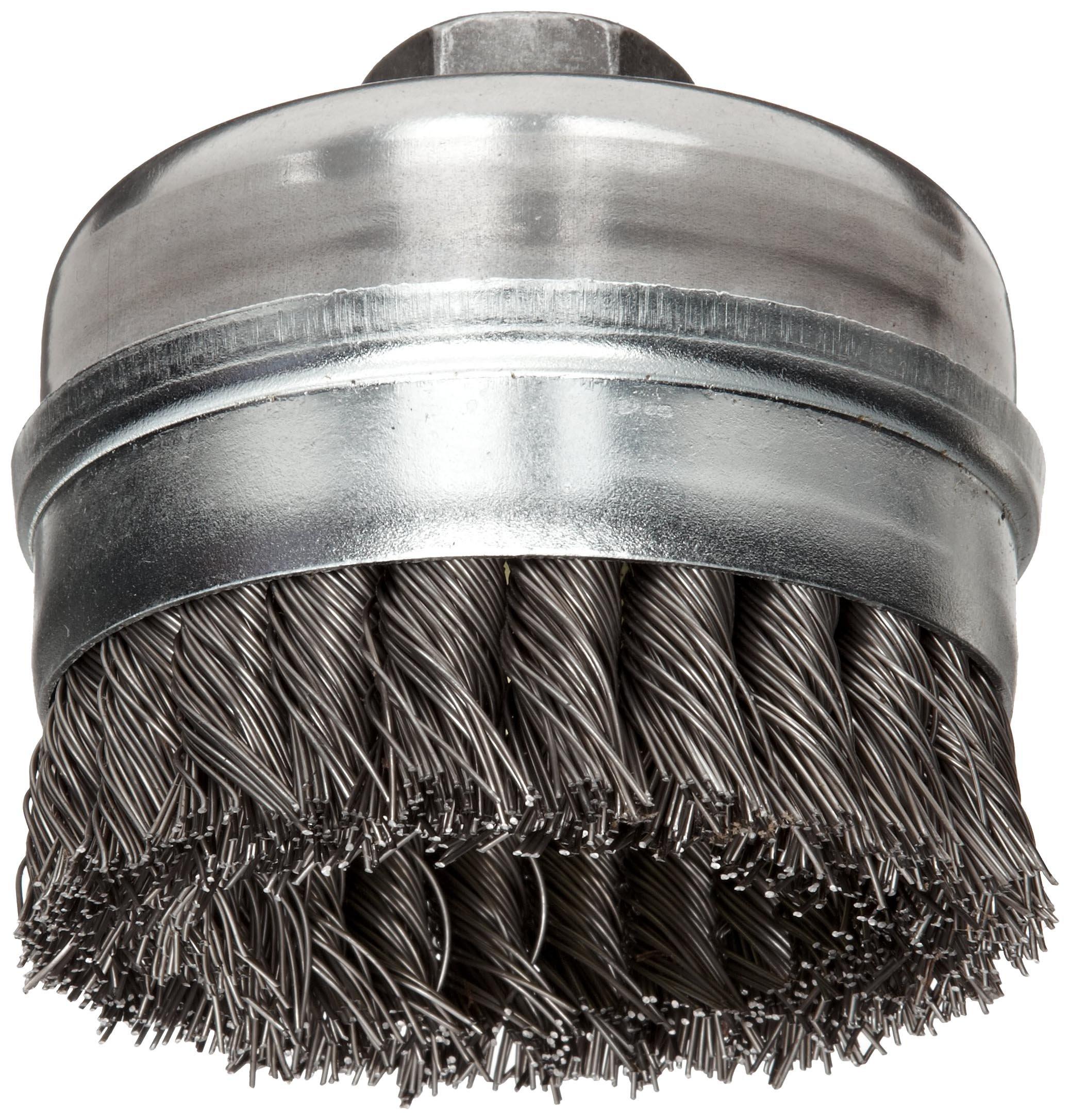 Stainless Steel Stem 3-1//2 Length Weiler 0.006 Wire Size 3//4 Diameter Round Power Tube Brush Steel Bristles