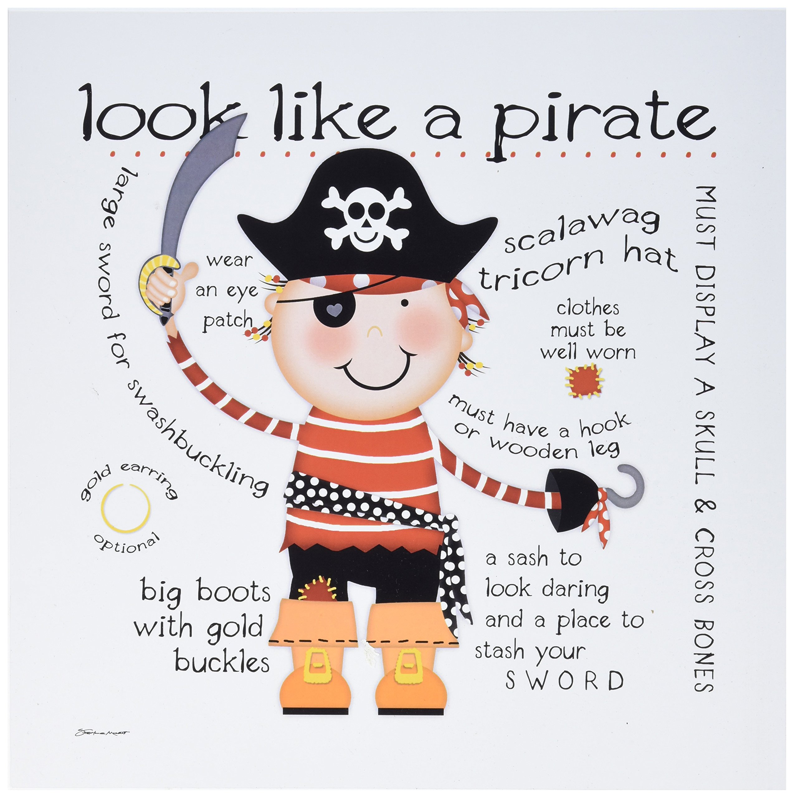 Stupell Home Décor Look Like a Pirate Wall Plaque Art, 12 x 0.5 x 12, Proudly Made in USA by The Kids Room by Stupell
