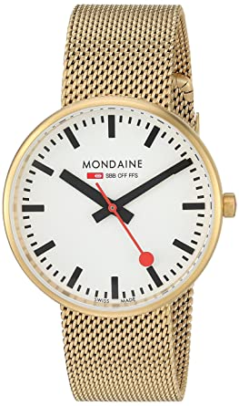 Mondaine SBB Quartz Stainless Steel And Gold Plated Casual WatchModel A763