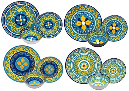 Melange 12-Piece 100% Melamine Dinnerware Set (Gardens of Italy Collection ) |  sc 1 st  Amazon.com & Melange 12-Piece 100% Melamine Dinnerware Set (Gardens of Italy Collection ) | Shatter-Proof and Chip-Resistant Melamine Plates and Bowls | Dinner ...