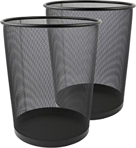 Greenco GRC2708 Round Mesh Wastebasket Trash Cans, 6 Gallon, Black, 2 Count