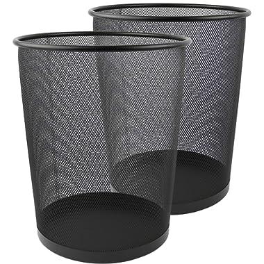 Greenco GRC2708 Round Mesh Wastebasket Trash Cans, 6 Gallon, 2 Count