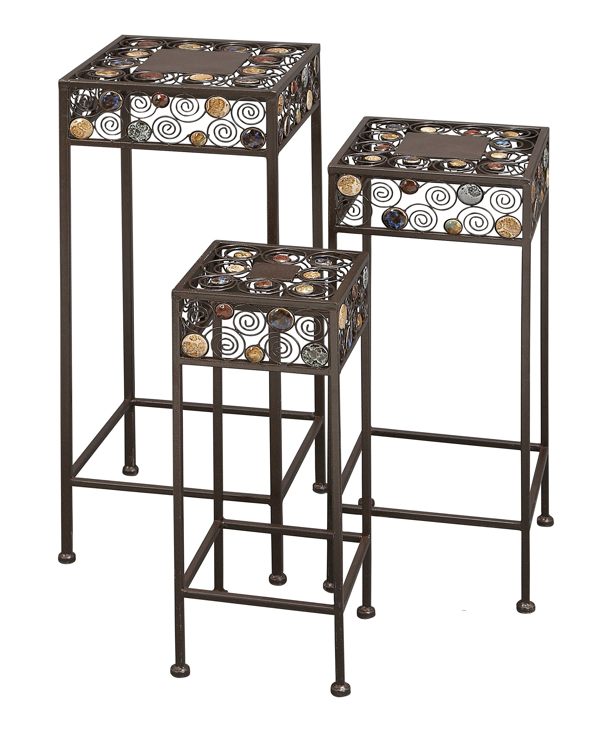 Deco 79 Metal/Ceramic Plant Stand 12-Inch, 23.5-Inch, 29-Inch, Set of 3 by Deco 79