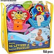 Foam Bath Toys - 100% Non-Toxic Fun Bathtub Toys for Kids - Foam Letters Alphabet Puzzles Boys Girls - Bath Toy Organizer - Baby Bath Toy Letters - Educational Premium Set 52 Pcs - No Smell