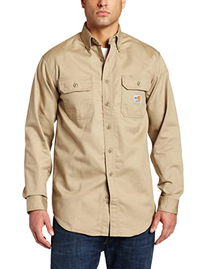 7e009115f4c2 Carhartt Men s Classic Logo Lightweight Long Sleeve Button-Down Twill Work  Shirts at Amazon Men s Clothing store
