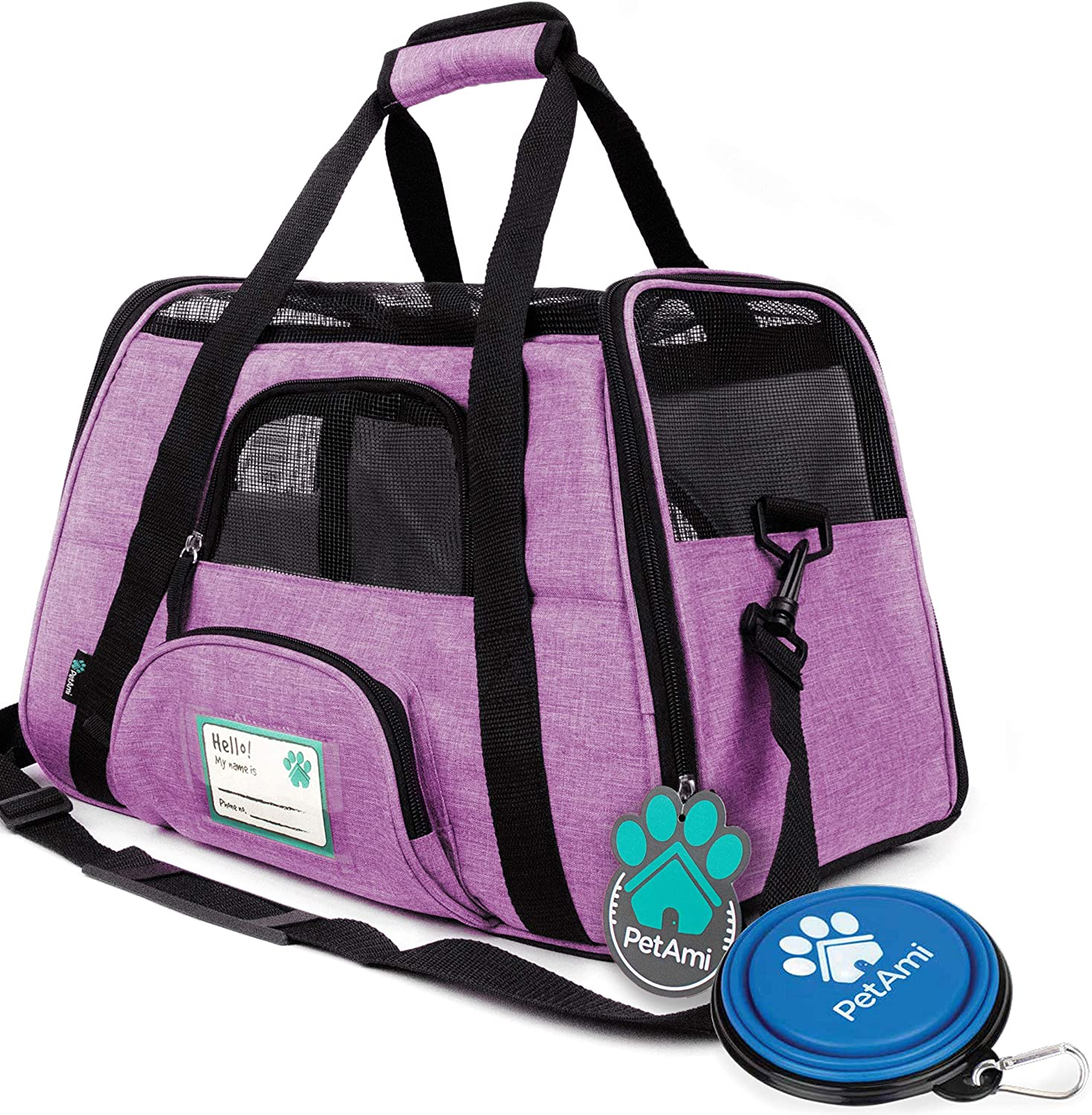 PetAmi Premium Airline Approved Soft-Sided Pet Travel Carrier | Ventilated, Comfortable Design with Safety Features | Ideal for Small to Medium Sized Cats, Dogs, and Pets (Large, Heather Purple)