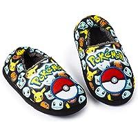 Pokémon Pantoufle Enfants Garçon Fille Motif Pikachu Pokeball, Chausson Confort Chaud Hiver Doublure Super Douce Polaire, Semelle Antidérapante, Petit Cadeau pour Garçon Fille Ado