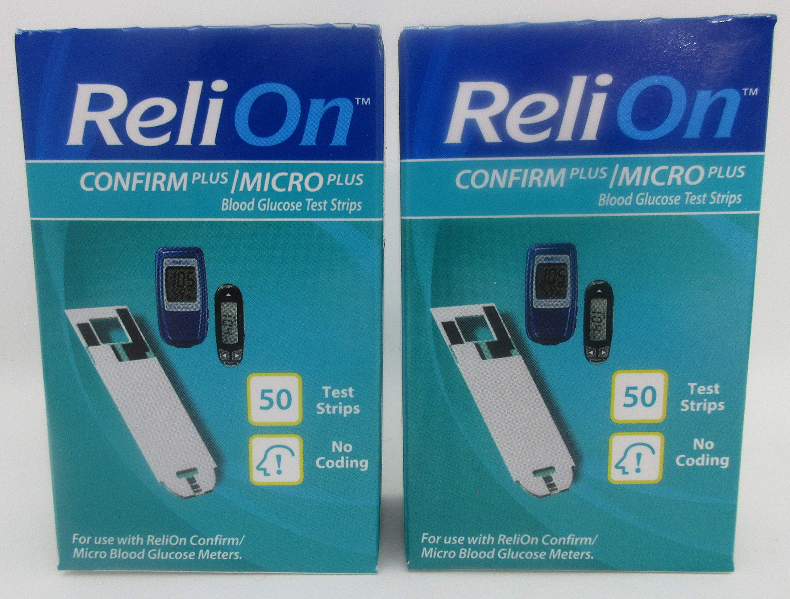 ReliOn Confirm Plus/Micro Plus Blood Glucose Test Strips - 100 ct (Two 50 ct Boxes) by Reli On
