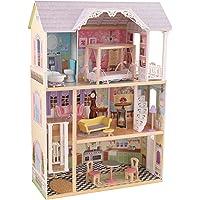 KidKraft 65869 Kaylee Puppenhaus aus Holz mit Zubehör für 30cm große Puppen mit 10 Accessoires und 3 Spielebenen