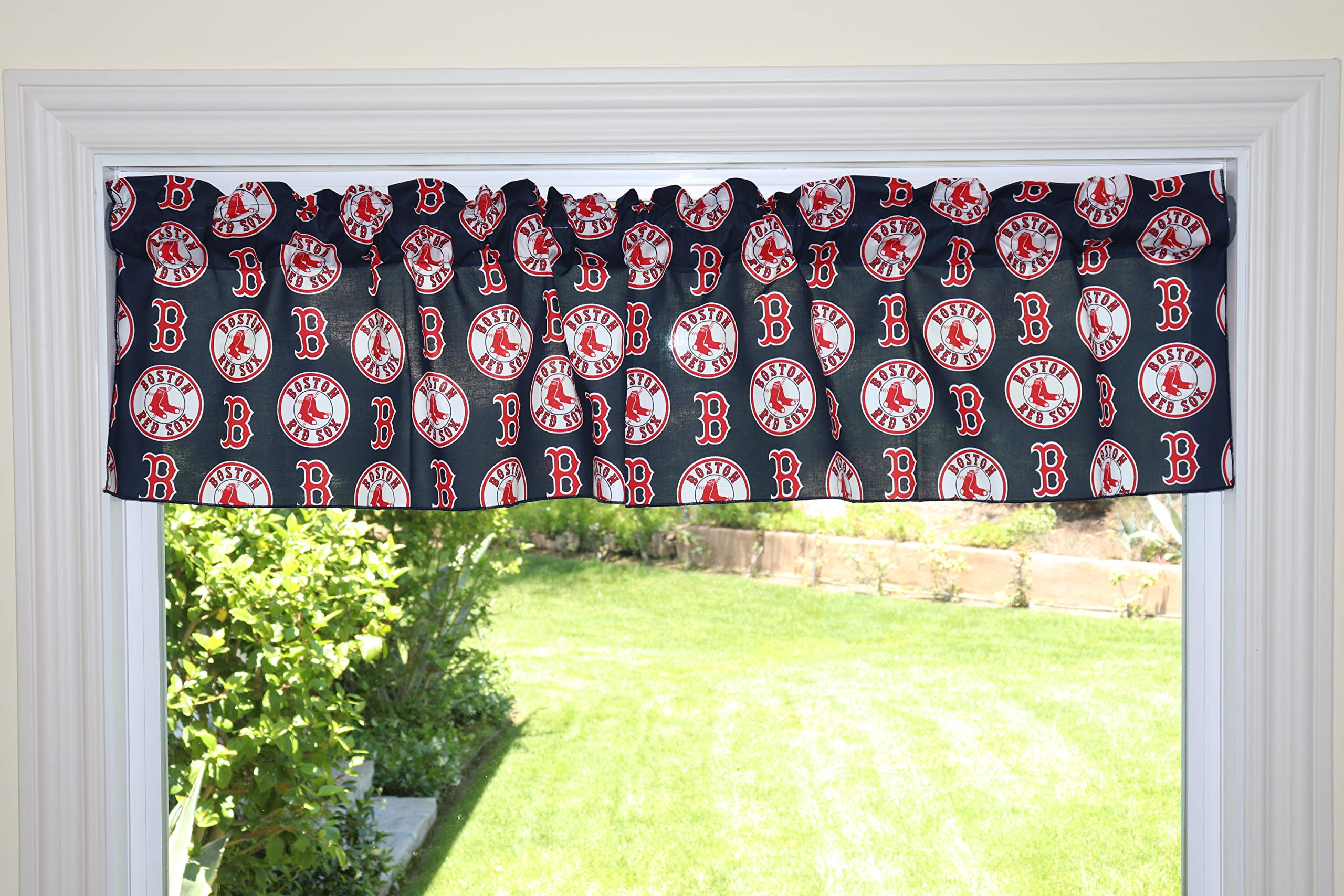 lovemyfabric Baseball Cotton Window Valance 100% Cotton Print MLB Sports Team Boston Red Sox Events Kitchen Dining Room Bedroom Window Decor (58'' Wide) (24'' Tall, Red Sox Navy) by lovemyfabric