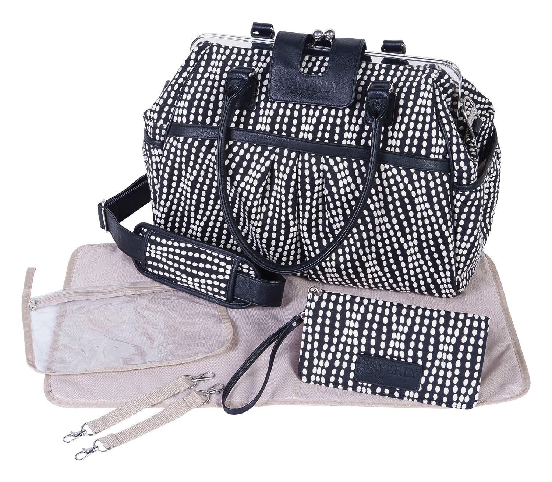 Waverly Baby by Trend Lab Strands Sterling Framed Diaper Bag, Black, Cream