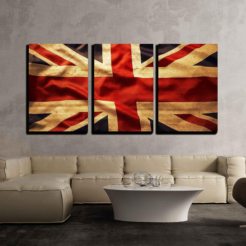 Union Jack Grunge Flag Design Multi Panel Canvas Print wall Art Picture 5 Piece