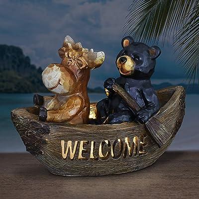 Exhart Solar Bear Welcome Sign Garden Statue | Bear & Moose in Canoe |Resin Statue w/Solar Powered LED Welcome Lights |an Animal Statue for Garden Décor| 8 inches : Garden & Outdoor