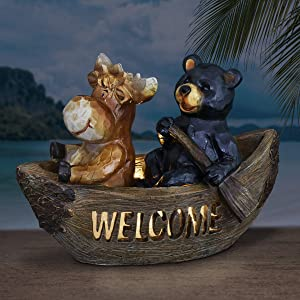 Exhart Solar Bear Welcome Sign Garden Statue   Bear & Moose in Canoe  Resin Statue w/Solar Powered LED Welcome Lights  an Animal Statue for Garden Décor  8 inches