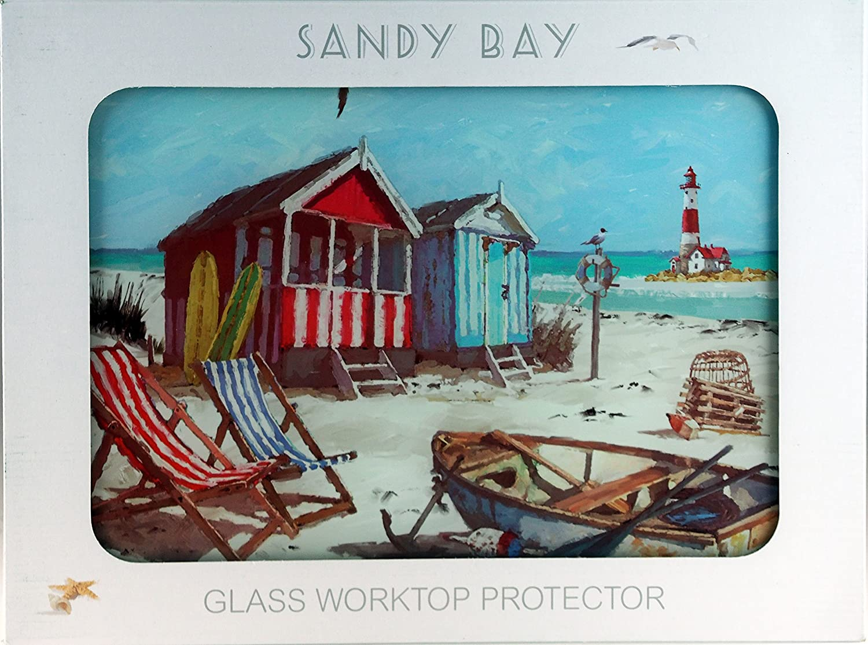 Nautical Vintage Beach Hut Scene Glass Chopping Cutting Board / Top ...