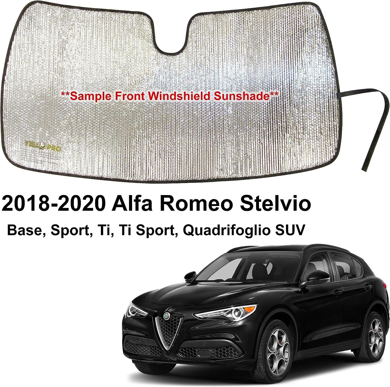 YelloPro Custom Fit Automotive Reflective Front Windshield Sunshade Accessories UV Reflector Sun Protection for 2018 2019 2020 Alfa Romeo Stelvio Base, Sport, Ti, Ti Sport, Quadrifoglio SUV