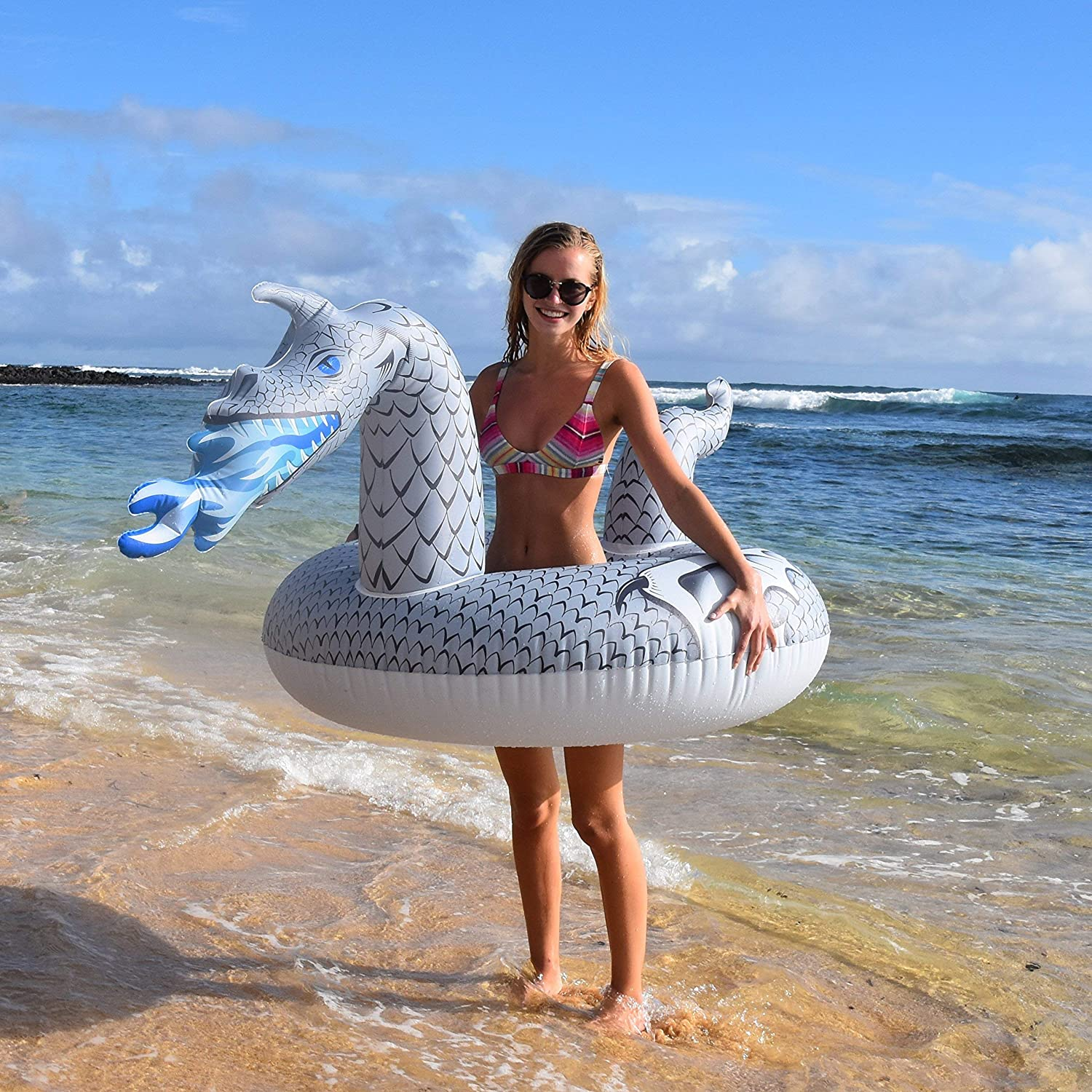 Renewed GoFloats Dragon Party Tube Inflatable Rafts Pool Floats for Adults and Kids Choose From Fire Dragon and Ice Dragon
