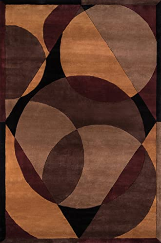 Momeni Rugs New Wave Collection, 100 Wool Hand Carved Tufted Contemporary Area Rug, 7 6 x 9 6 , Brown