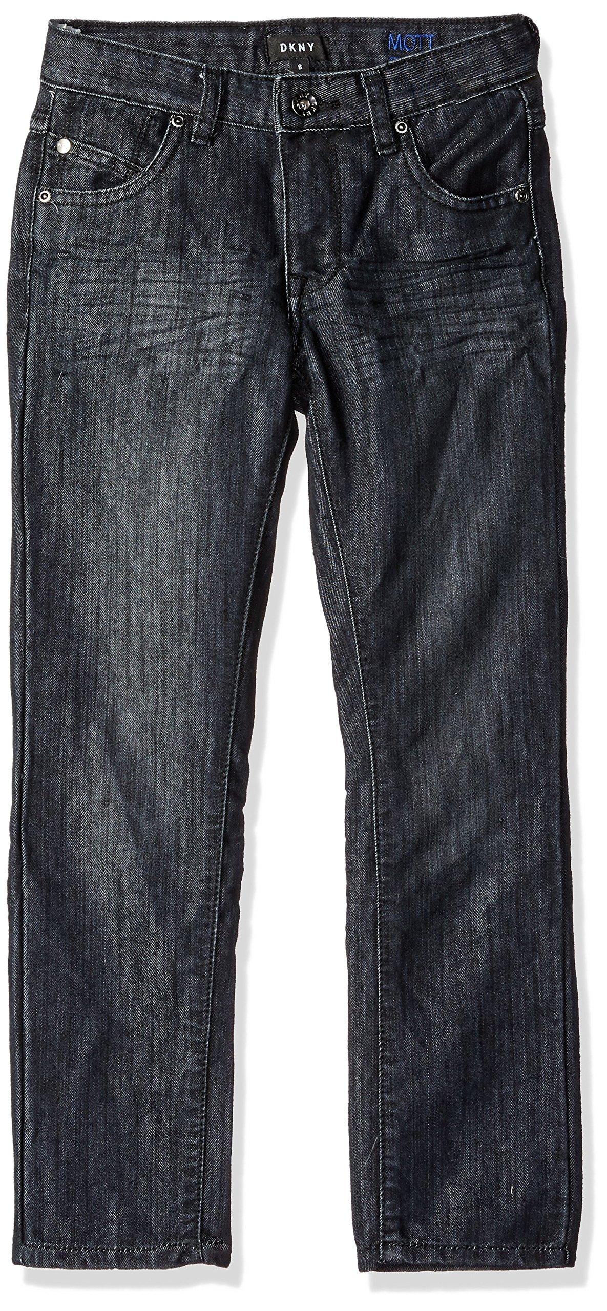 DKNY Big Boys' Mott Stretch Denim Straight Fit Jean, Wash Black, 16