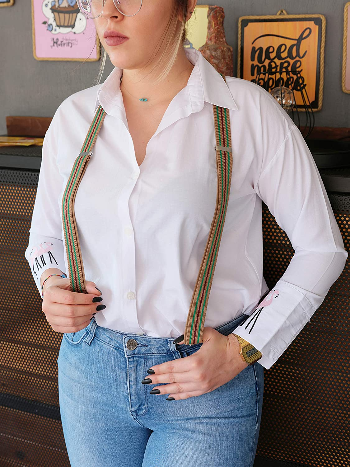 1 Inch Width Y Back Style Adjustable Straps and Clips by FOREER Suspenders for Women