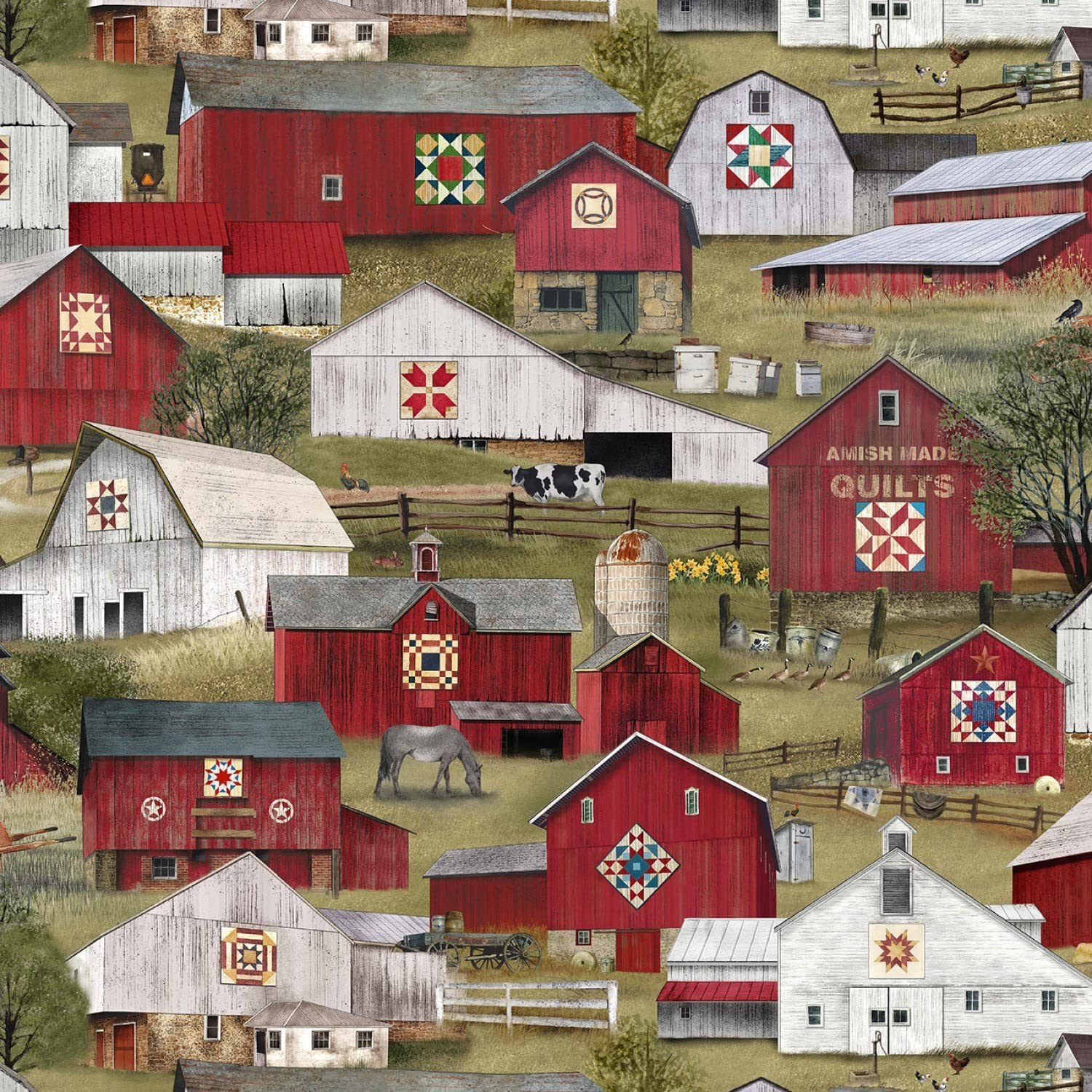 Headin Home Barn Quilts from Elizabeth's Studio 100% Cotton Quilt Fabric by The Yard 4706 Green