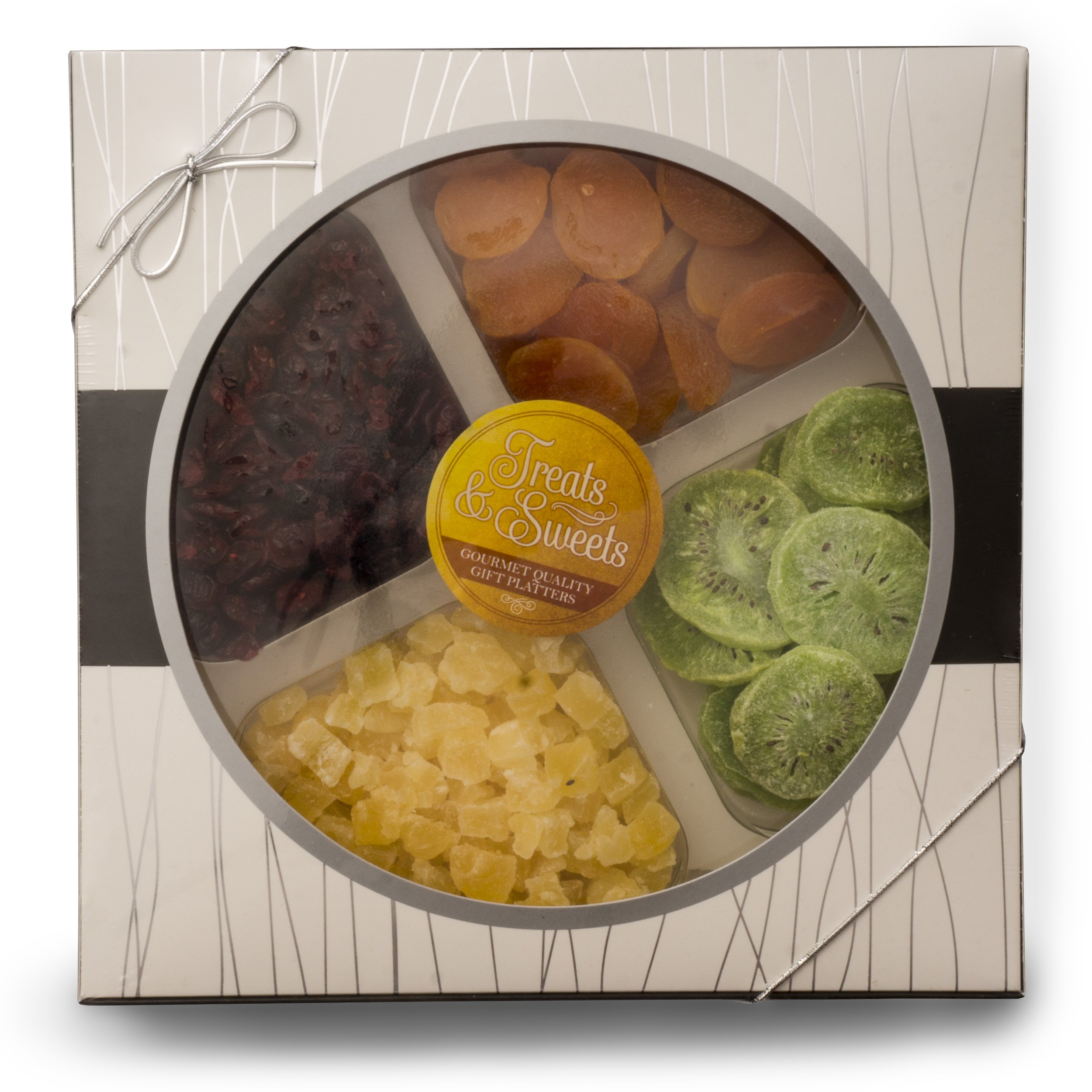 Fruit Basket Gourmet Deluxe, Classic Dried Fruit Platter Apricots, Pineapple, Dried Cranberries, Kiwi, Kosher, Beautiful Box W/ Silver Ribbon, Healthy Food Party Tray