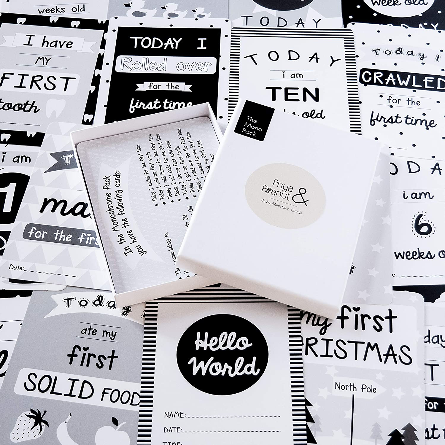 30 Cards for Babys First Years The Monochrome Baby Milestone Card Pack Perfect Baby Shower Gift /& Present
