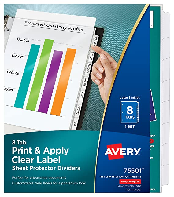Amazon avery index maker clear pocket clear label dividers 8 amazon avery index maker clear pocket clear label dividers 8 tab set 75501 binder index dividers office products maxwellsz