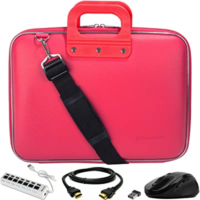 """SumacLife Cady Magenta Pink Messenger Bag Carrying Case w/ Mouse, USB Hub, & HDMI Cable for AOC 16"""" Class USB Portable Monitor 15.6"""" I1659FWUX / E1659FWU / I1601FWUX"""