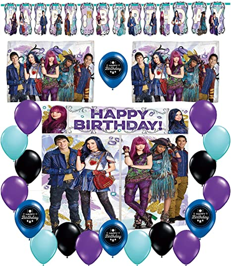 Descendants 2 Happy Birthday Deluxe Balloon Party Decorating Kit Bundle