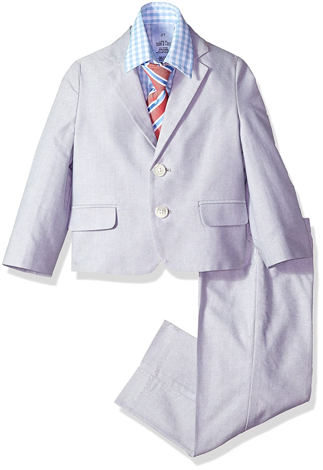 5701bfbcf Four-piece dress set featuring two-button jacket, elastic-waist pant,  pinstripe shirt, and clip-on tie