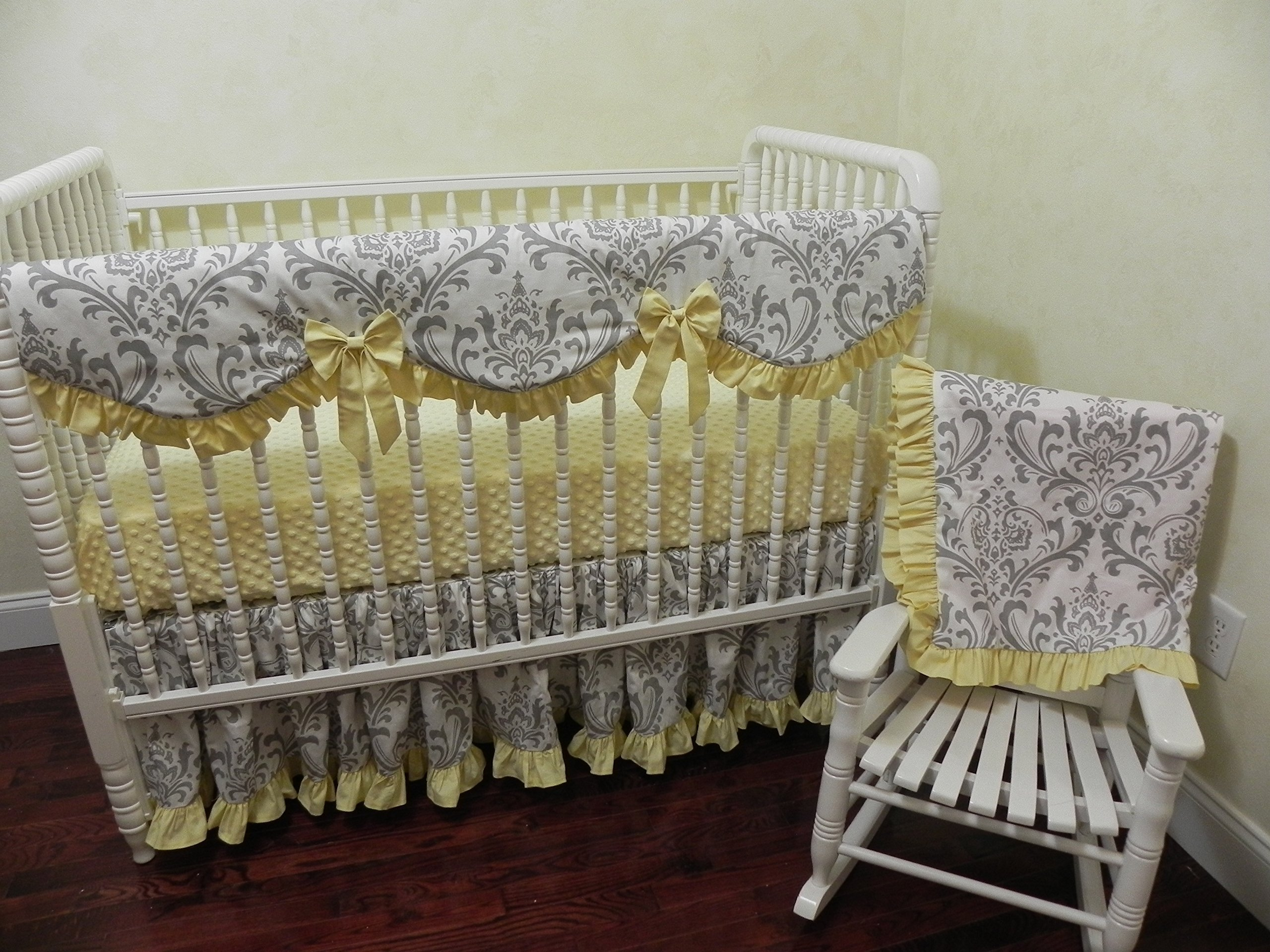 Nursery Bedding, Baby Girl Crib Bedding Set Brooke in Yellow, Scalloped Crib Rail Cover, Bumperless Crib Bedding, White and Gray Damask with Light Yellow Baby Bedding – Choose Your Pieces