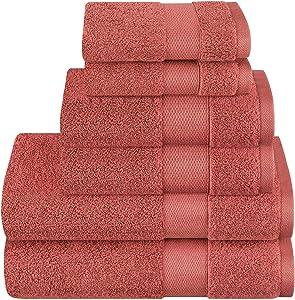 Wonwo 100% Cotton Towel Sets, 600 GSM Luxury Bath Towels 6 Piece Set - 2 Bath Towels, 2 Hand Towels, and 2 Washcloths-Coral Red