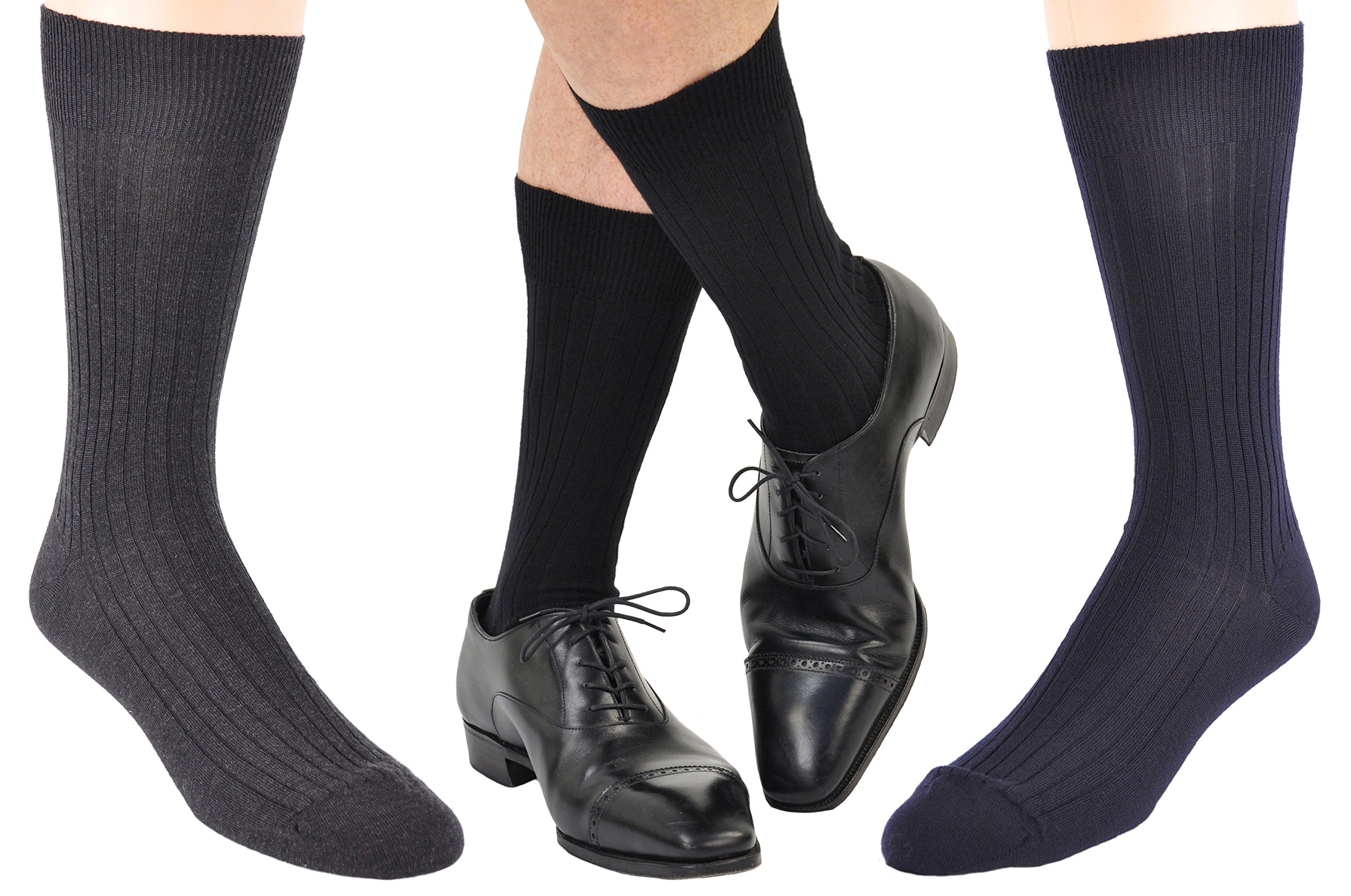 12 Pairs Men's ExtraFine Merino Marcoliani Mid-Calf Italian Dress Socks: 4 Navy, 4 Black, 4 Charcoal