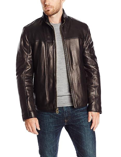 349ae8cab Cole Haan Men's Smooth Lamb Convertible Collar Jacket