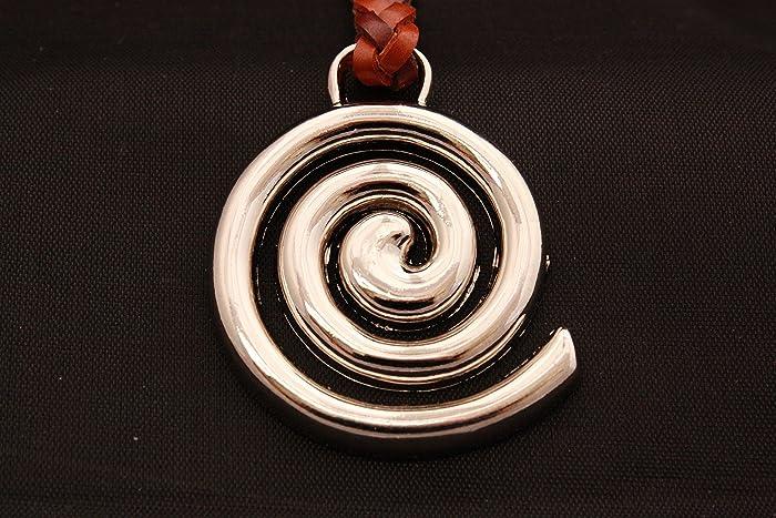 Llavero Celta de Cuero trenzado, Espiral en Zamak Cromado ...