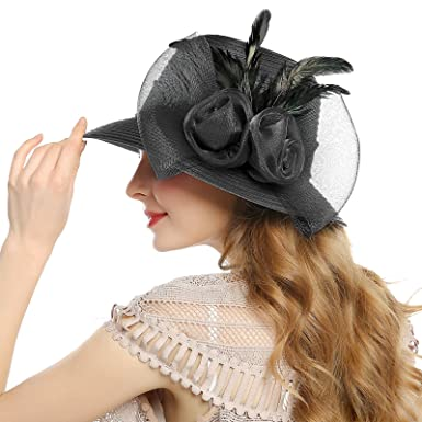 85f2511f4d7a0 Women s Church Derby Dress Hat - Kentucky Tea Party Wedding Bowler Hats  (Black  1