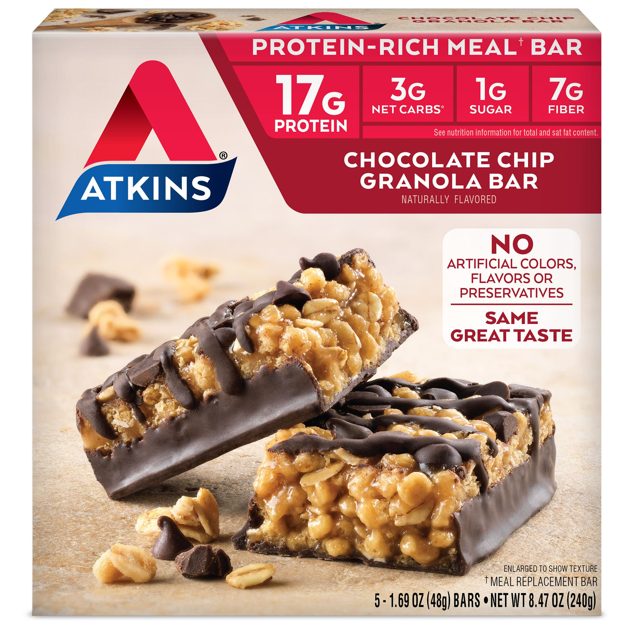 Atkins Protein-Rich Meal Bar, Chocolate Chip Granola, 5 Count