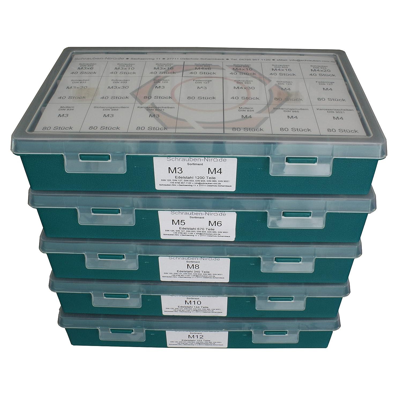 - 144 Teile Set bestehend aus Schrauben Unterlegscheiben DIN 125, 127, 9021 Sortiment M10 DIN 933 Edelstahl A2 V2A Sechskantschrauben mit Gewinde bis Kopf DIN 934, 985 und Muttern