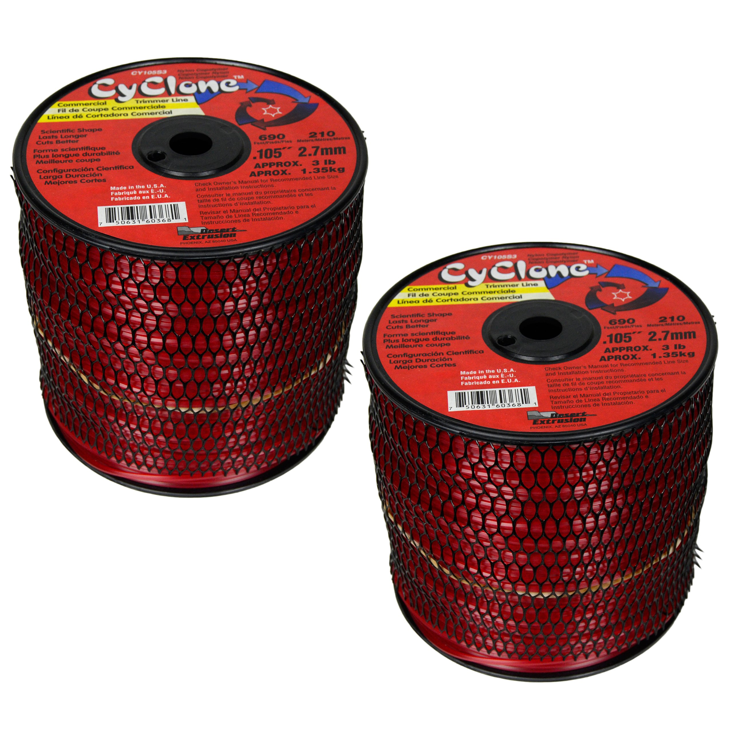 Desert Extrusion Cyclone CY105S3 .105'' x690' Commercial Line Red [2/Case] (2-Pack)