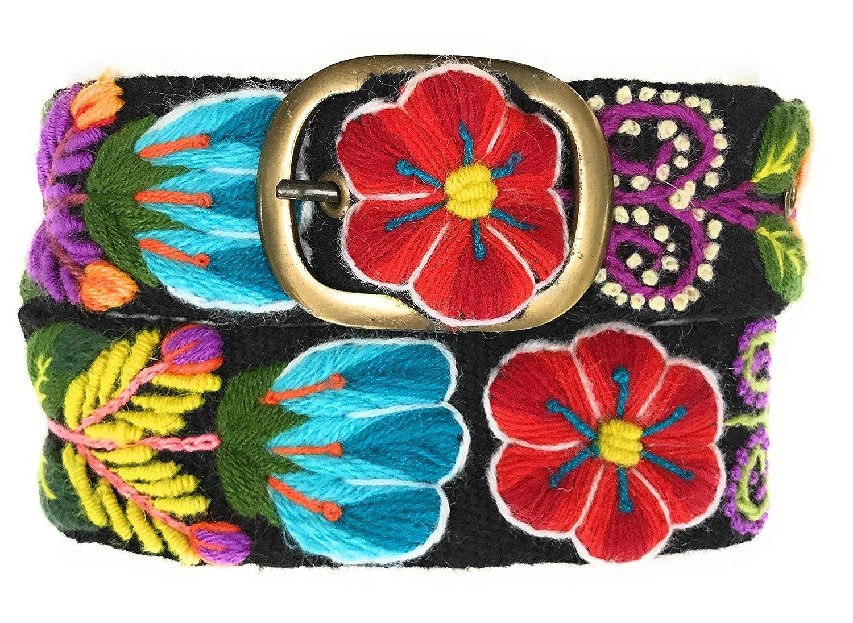 Size Medium. Hand Embroidered Peruvian Black Floral Wool Sundance Belt