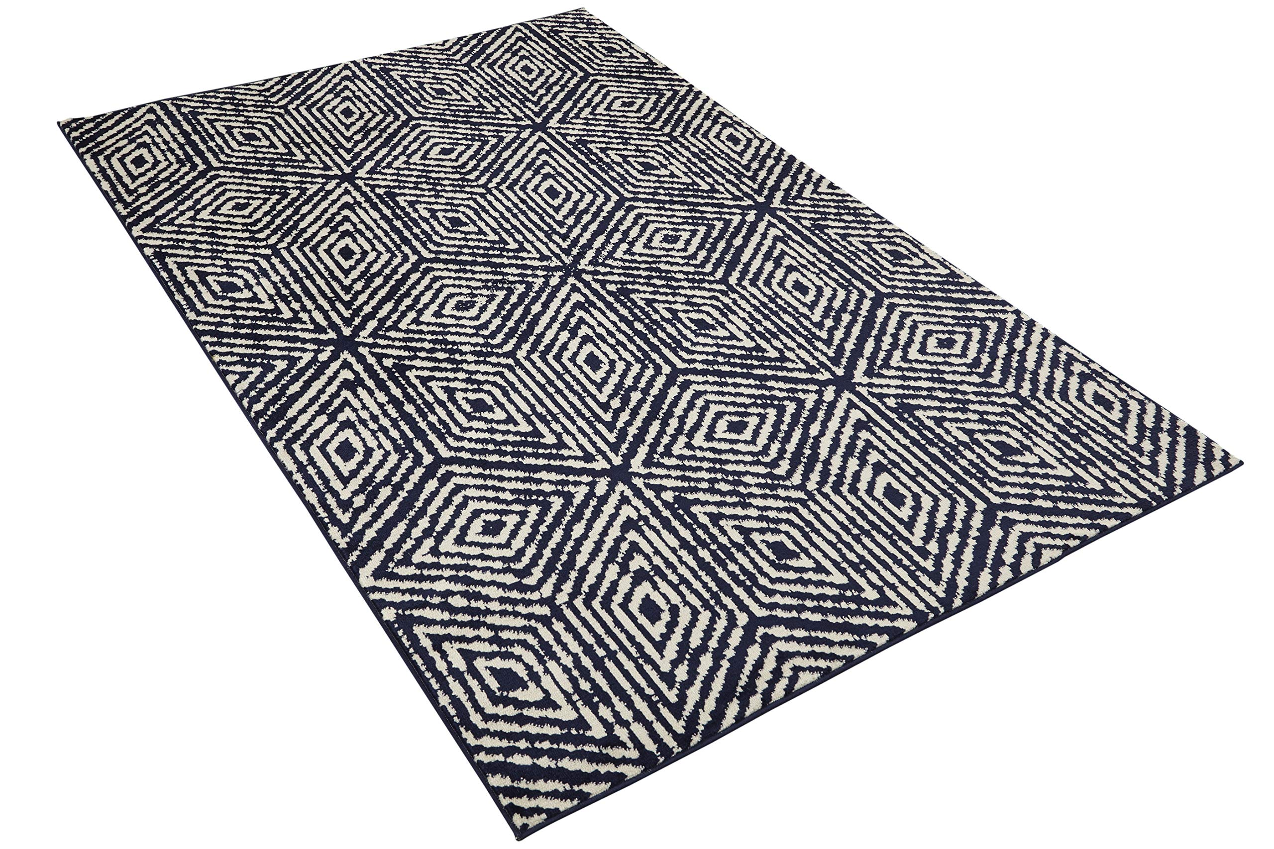 Diagona Designs Contemporary Geometric Cubes Design Modern 8' X 10' Area Rug, 94'' W x 118'' L, Navy/Ivory (JAS2195) by Diagona Designs (Image #4)
