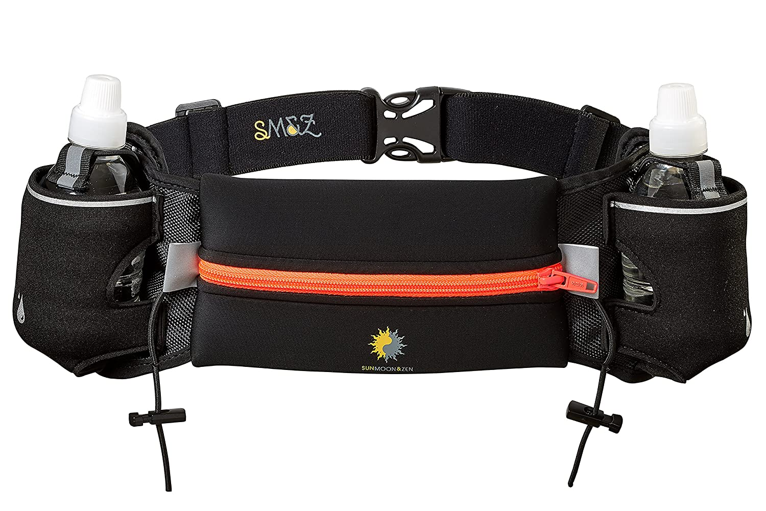 (Black and Orange) - Hydration Belt for Runners with Two Pockets a Seven Inch Zippered Pocket to Carry Cell Phones, Snacks, Keys and Money By Sun Moon and Zen (Black and Orange) B01BOGSUA0