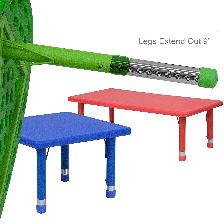 Round school table - Amazon Com Flash Furniture Height Adjustable Half Moon Blue Plastic Activity Table 35 X 65 Kitchen Dining