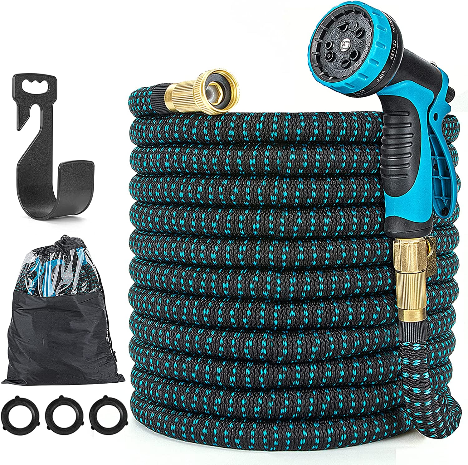 Expandable Garden Hose with 10 Function Nozzle - 100ft Water Hose 3750D 4-Layer Latex Core with 3/4
