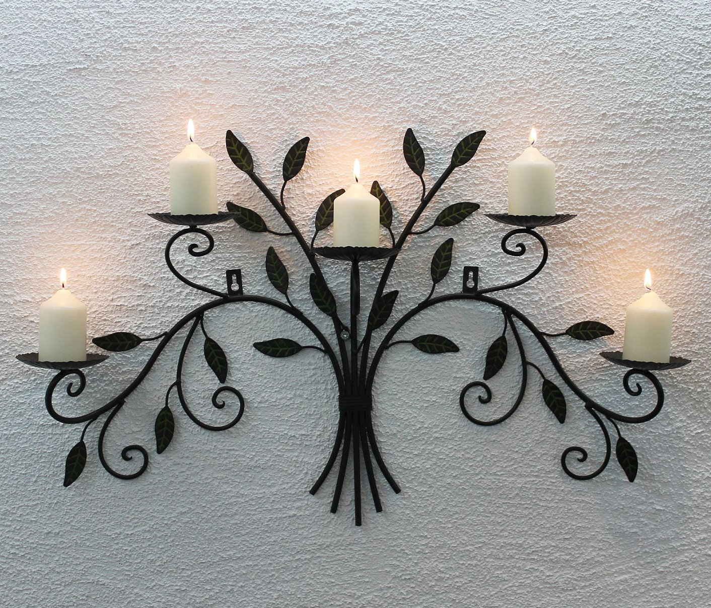 12119 Wall-Mounted Candle Holder 70 cm Wrought Iron DanDiBo