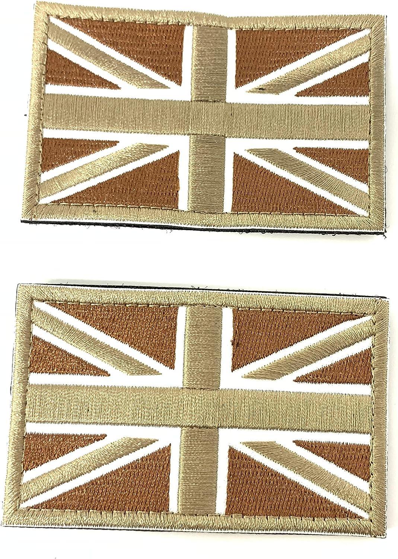 2 Parches Velcro x Reino Unido Inglaterra Emblema Gran Bretaña Bandera Táctico bandera con velcro podría ser pegado a la ropa, chaleco, gorra, mochila Directamente Tan: Amazon.es: Hogar