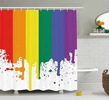 Lunarable Rainbow Shower Curtain Flag Pattern Support Pride Lifestyle Freedom Love Color Splashes Print