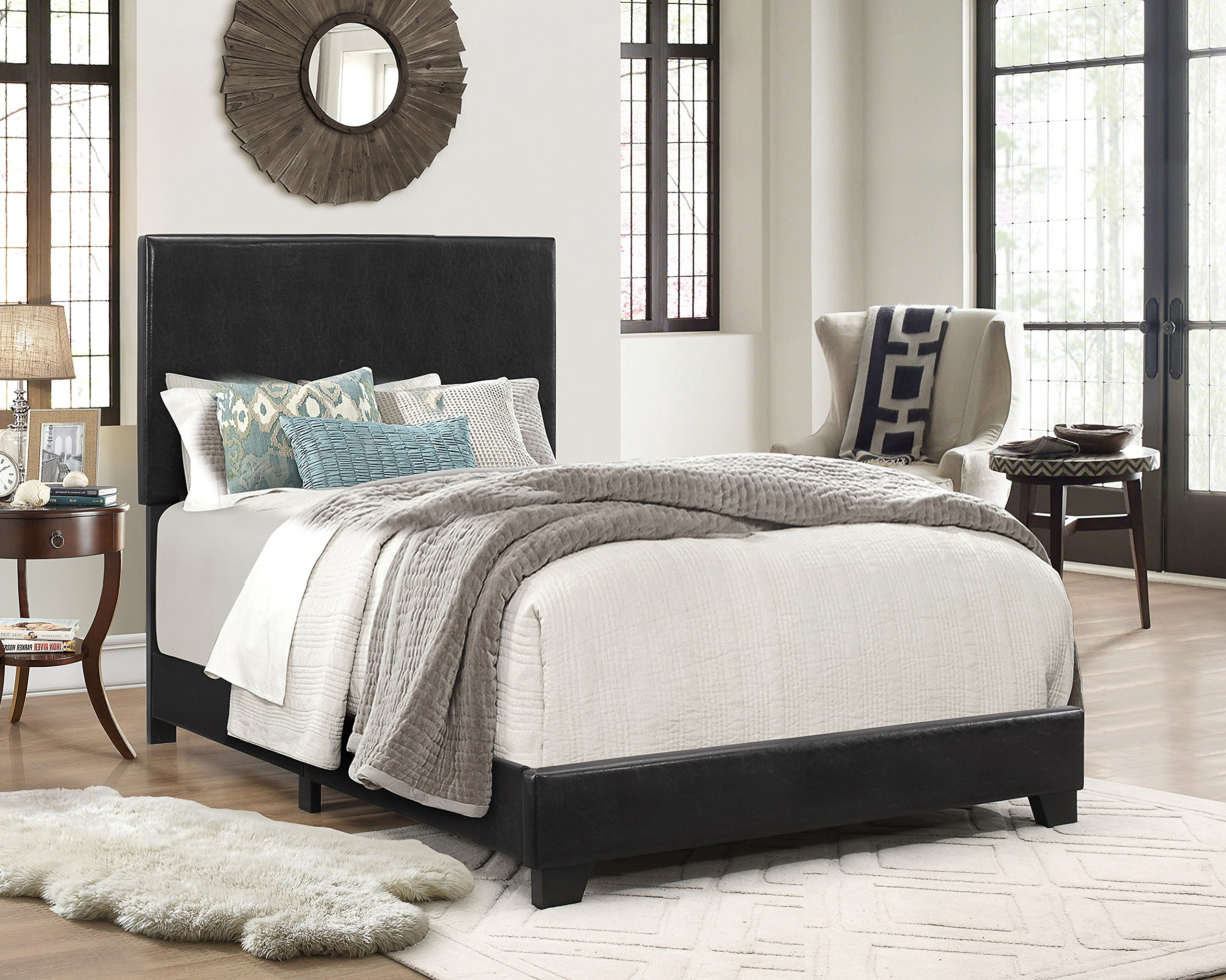Crown Mark Upholstered Panel Bed in Black, Twin