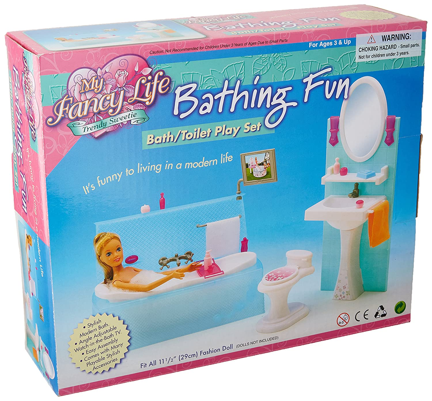 My Fancy Life Barbie Size Dollhouse Furniture, Bathing Fun with Bath Tub and Toilet Play Set LGC 2820